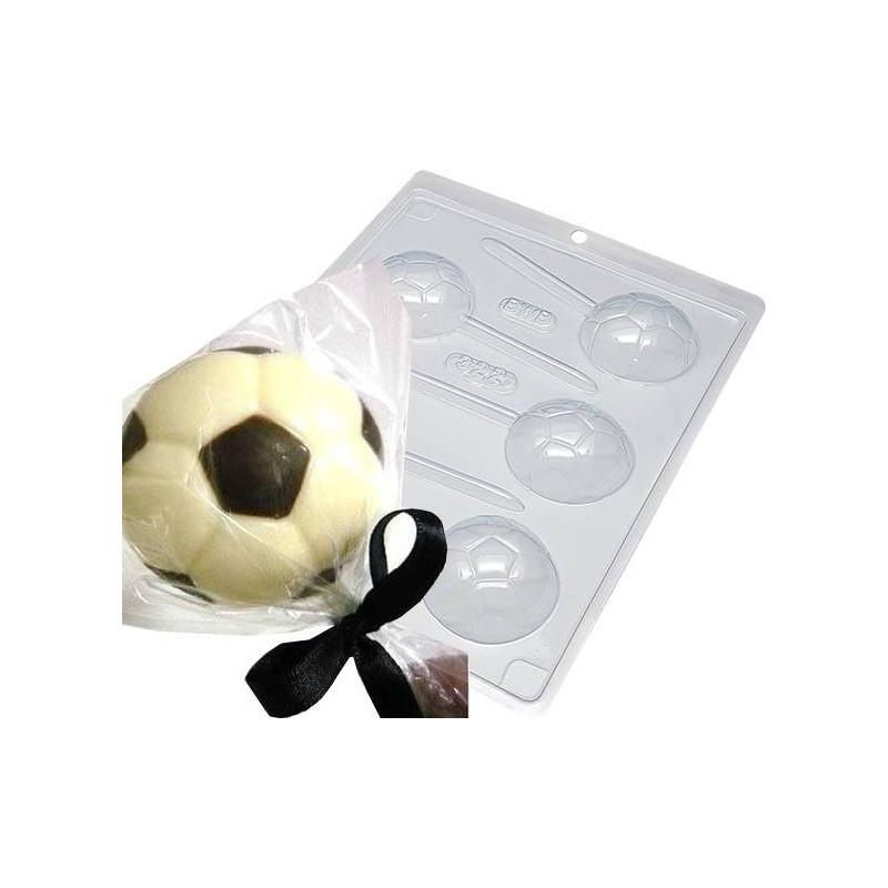 Moule chocolat sucettes ballon de foot - 5 cavités 5cm