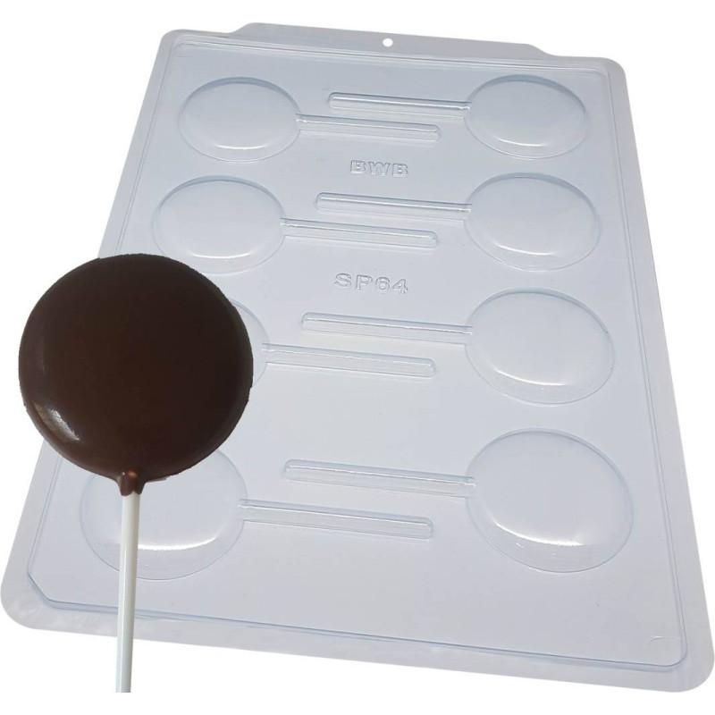 Molde de chocolate redondo para piruletas - 8 cavidades