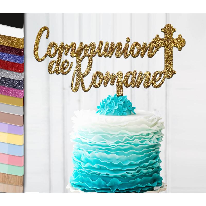 Topper gâteau personnalisé Communion et croix