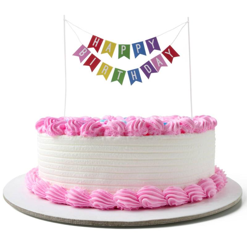 Pastel topper bandera Happy Birthday
