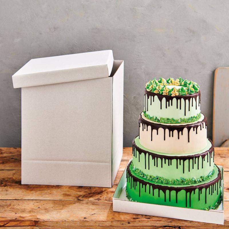 Caja para tartas blanca de 52cm de lado x 70cm de altura