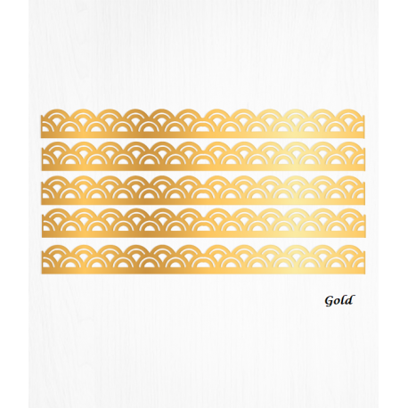 Bordes de tarta con lazo dorado de papel de oblea