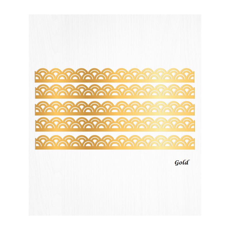 Bordures de gâteau arc or en Wafer paper