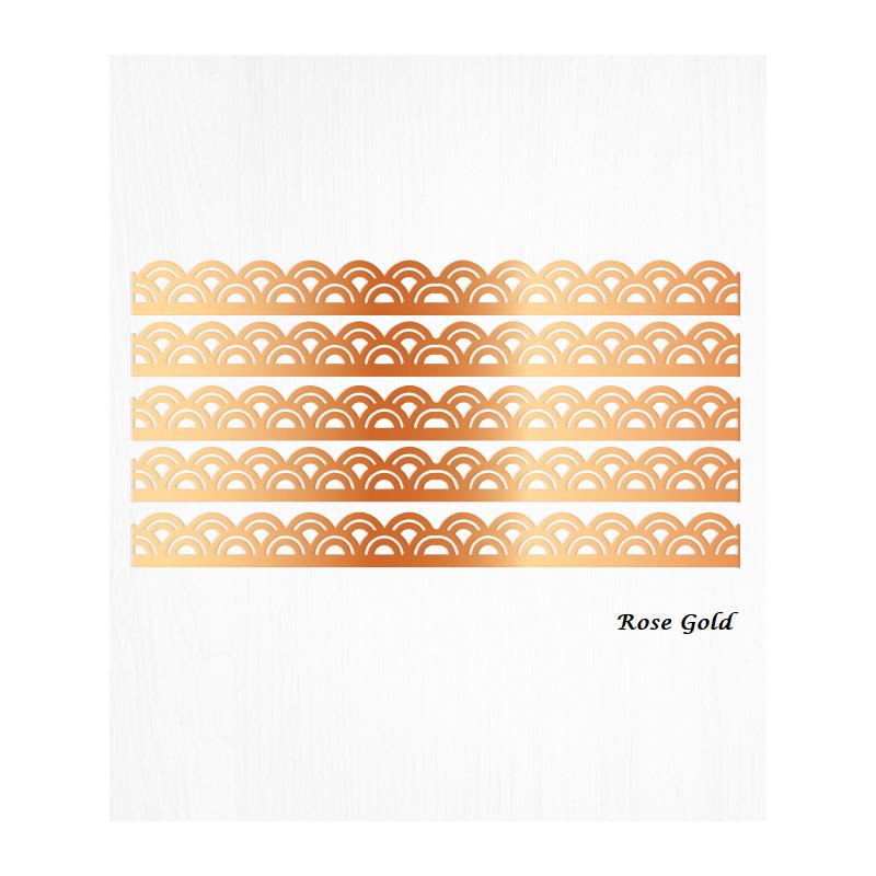 Bordures de gâteau arc or ROSE en Wafer paper