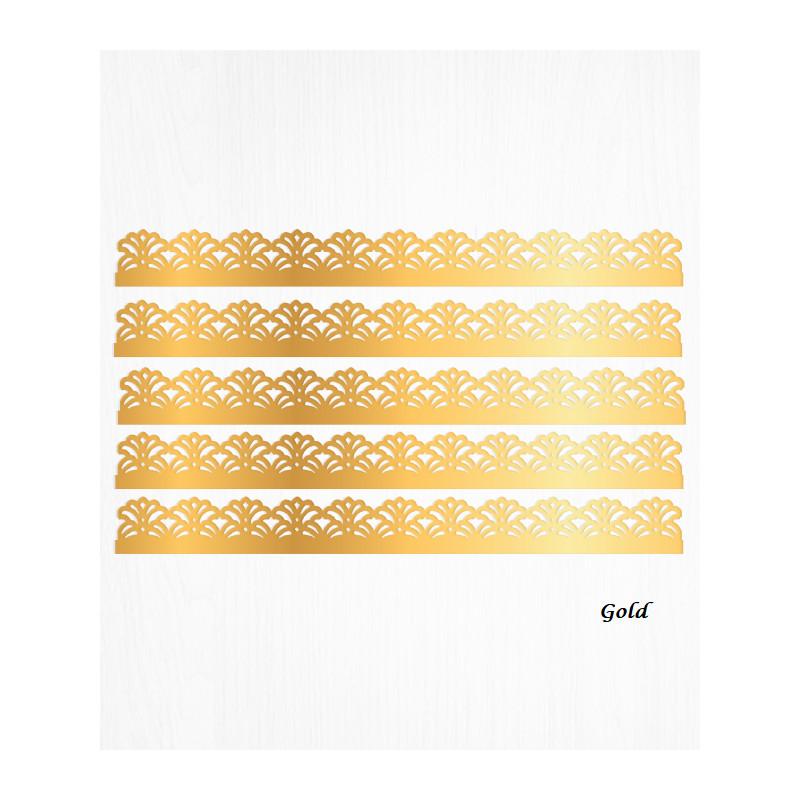 Bordes de tarta barroca dorada en papel de oblea