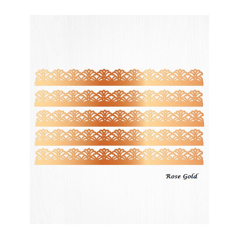 Bordes de tarta ROSE de oro barroco en papel de oblea