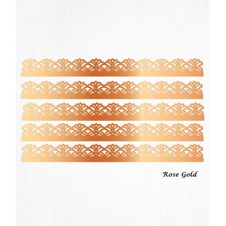 Rose gold baroque cake borders in Wafer paper