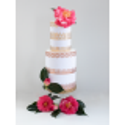 Bordes de tarta barroca de oro rosa en papel de oblea