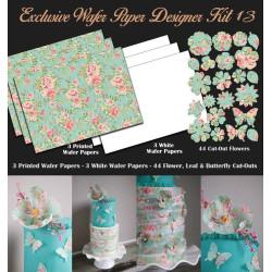 Kit de décorations en Wafer paper design fleurs pastel