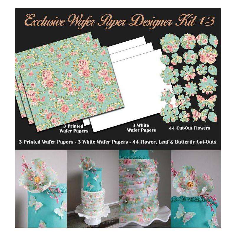 Kit de décorations en Wafer paper design fleurs pastels