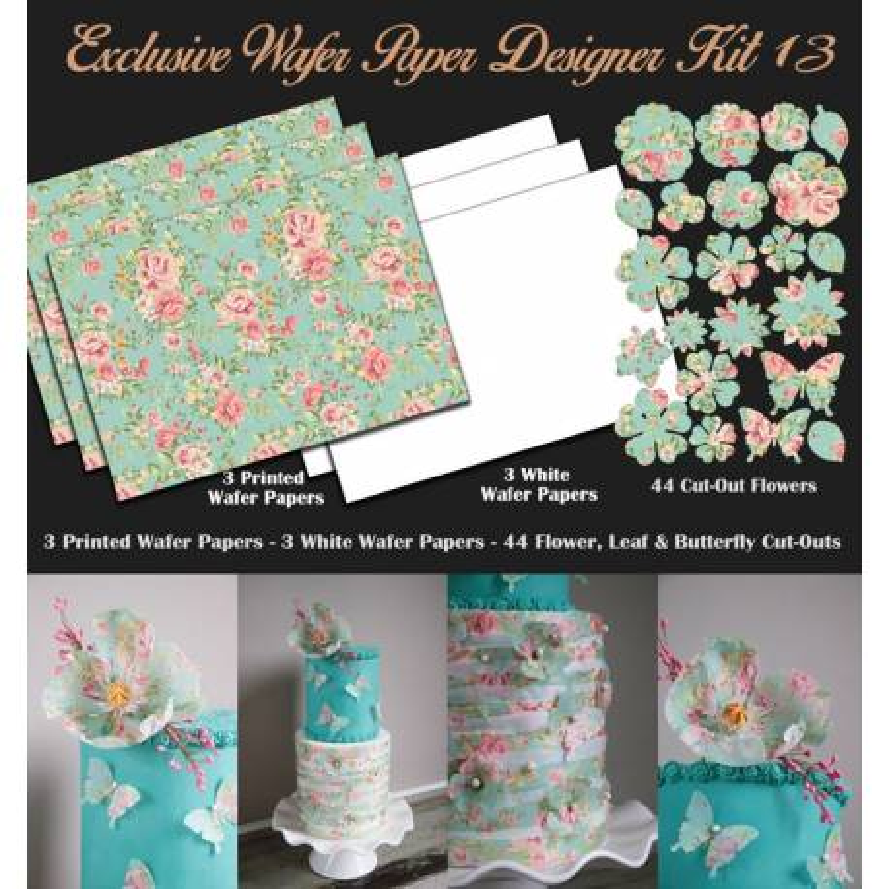 Kit de decoración de papel de oblea con diseño de flores pastel