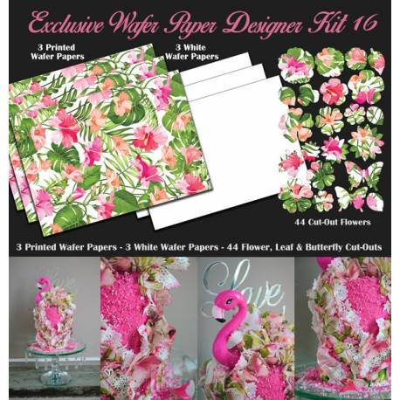 Kit de decoración con papel de oblea de diseño tropical