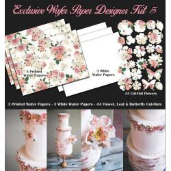 Kit de décorations en Wafer paper design fleurs roses