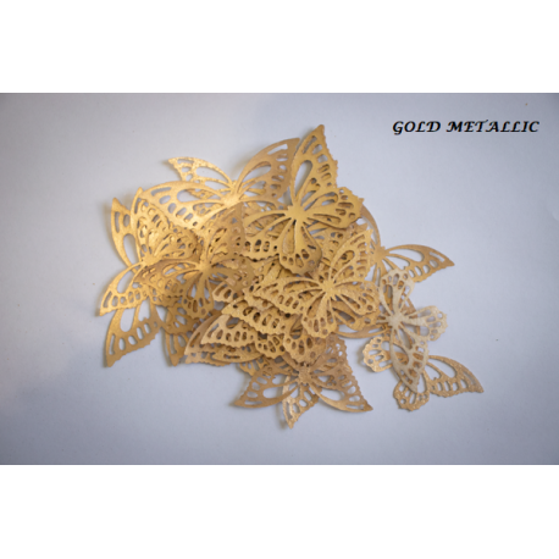 Butterflies in gold wafer paper x22