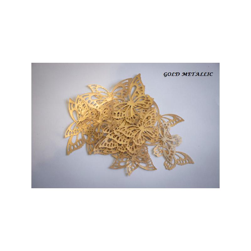 Mariposas en papel de oblea dorado x22
