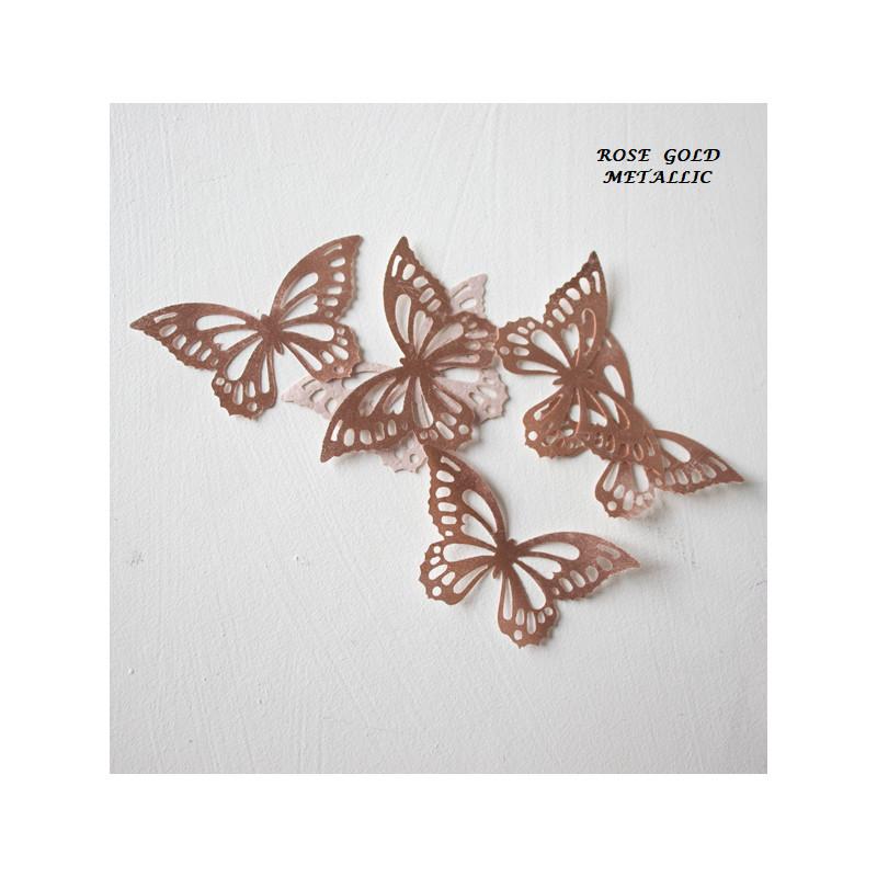 Mariposas en papel de oblea oro rosa x22
