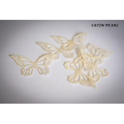 Papillons en wafer paper blanc perle x22