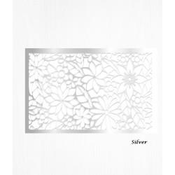 Feuilles de décorations argent en Wafer paper motif floral x2
