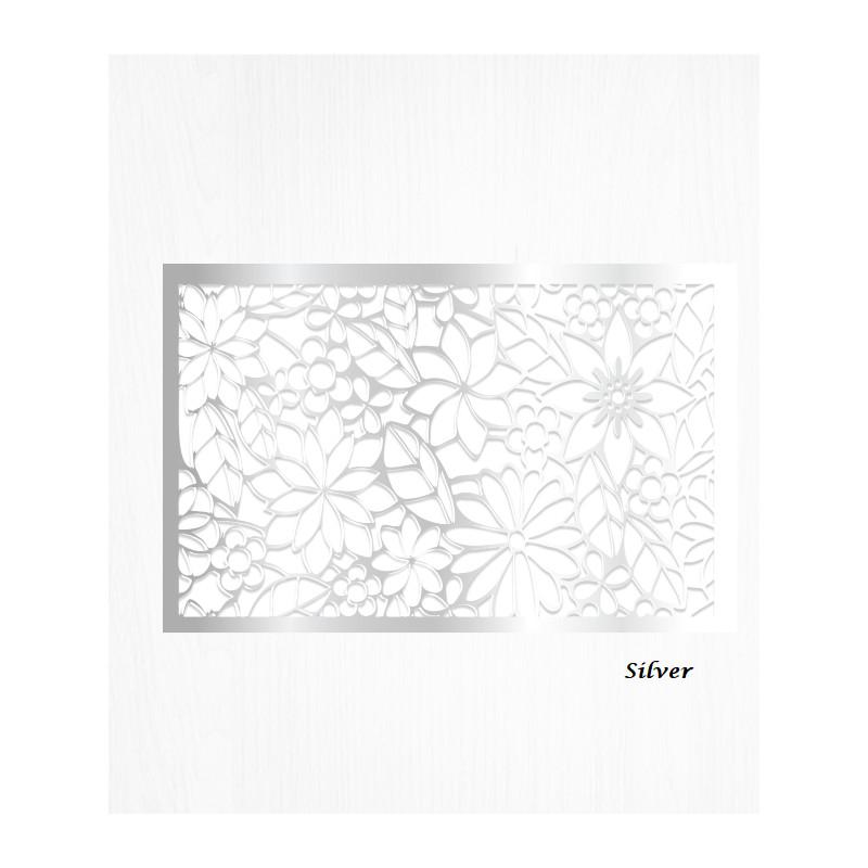 Hojas de decoración de papel de oblea de plata patrón floral x2