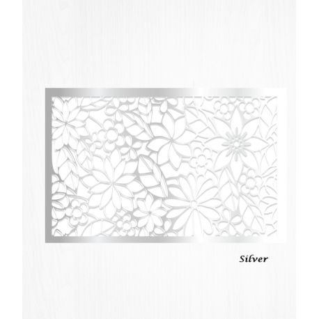Wafer paper silver decoration sheets floral pattern x2