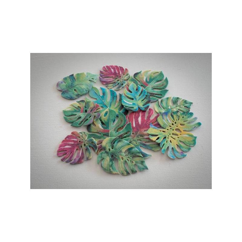 Feuilles tropicales Monster en wafer paper x 10