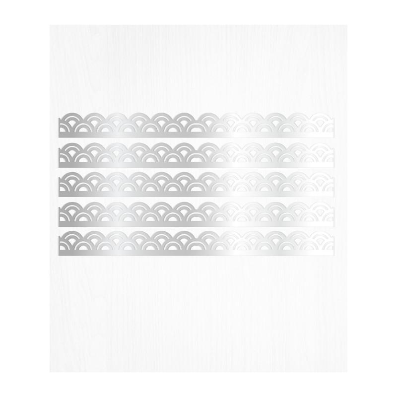 Bordures de gâteau arc argent en wafer paper