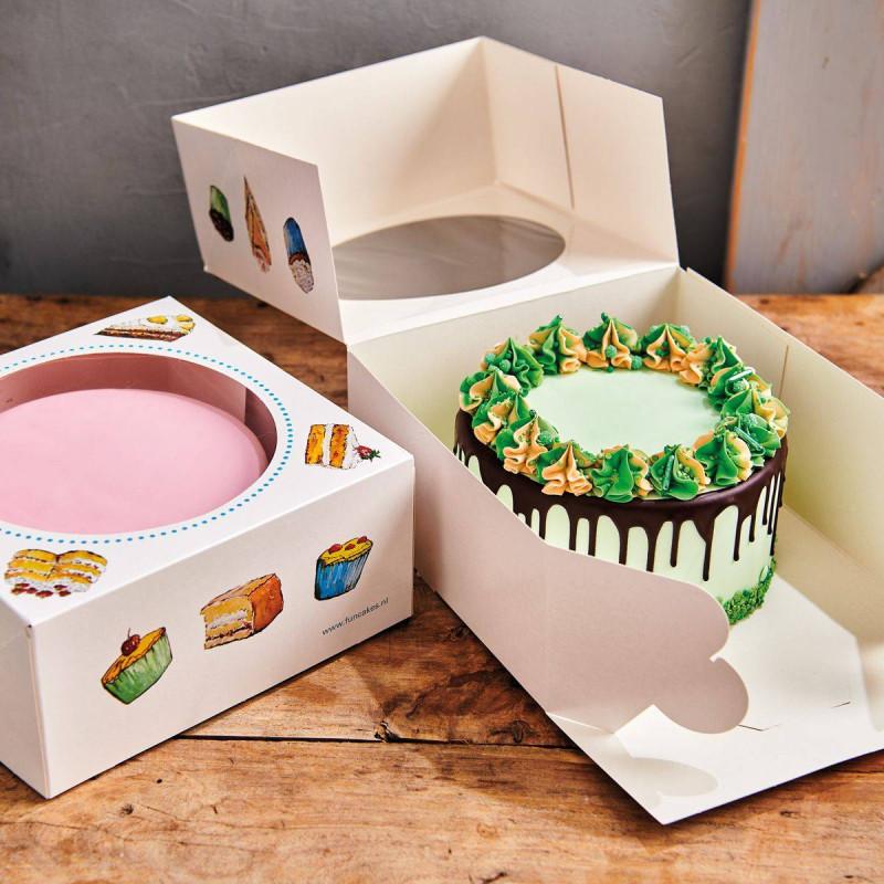 2 Boîtes à Gateaux carré 26cm sur 12cm haut - Motif Gâteau