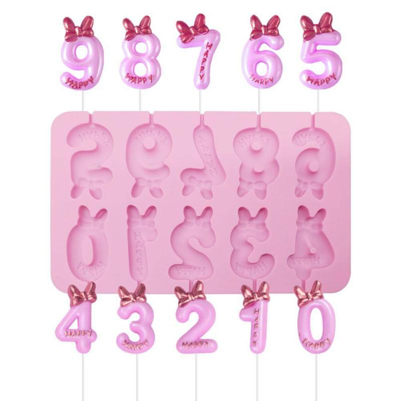 Moule sucettes chiffres avec nœuds