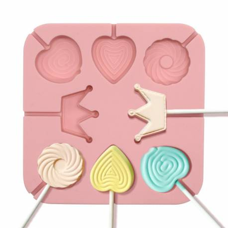 Silicone lollipop mould for princesses and sweets