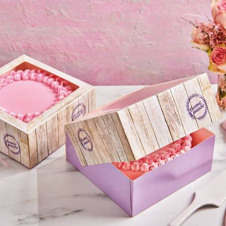 2 Square Cake Boxes 26cm x 12cm high - Wooden pattern