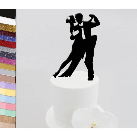 Topper personalized wedding cake Salsa dancers
