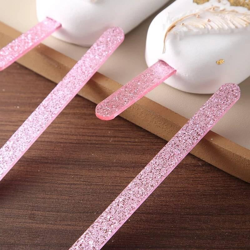 Bâtons de glace ou Popsicle en acrylique pailleté rose x10