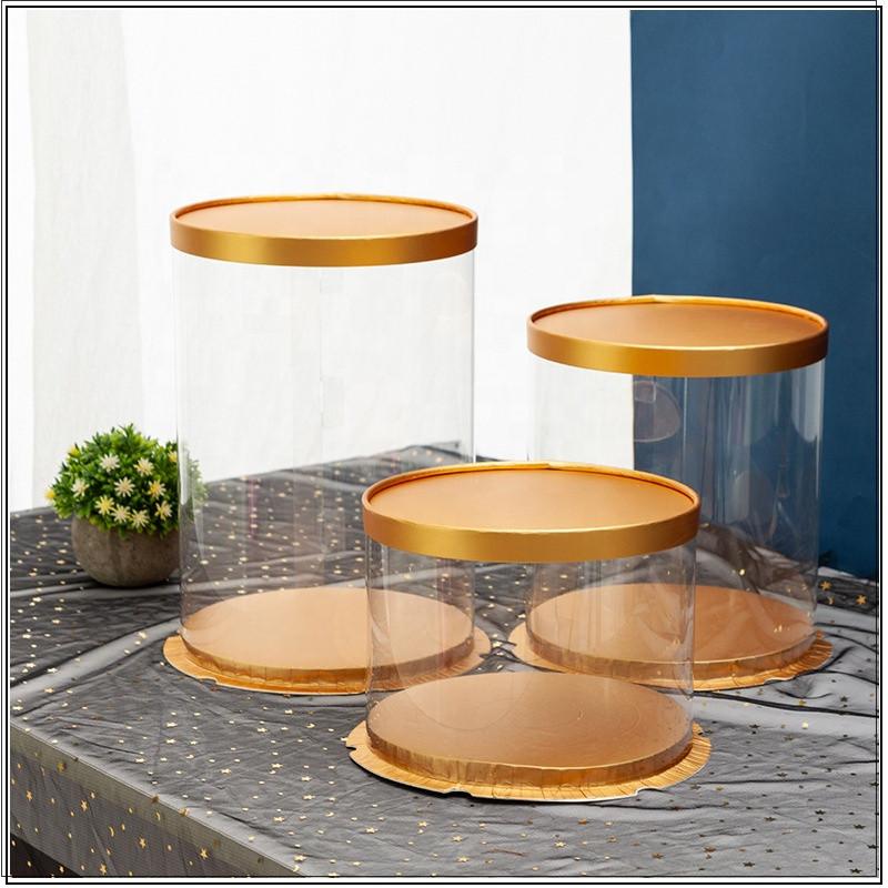 Round cake box transparent and gold