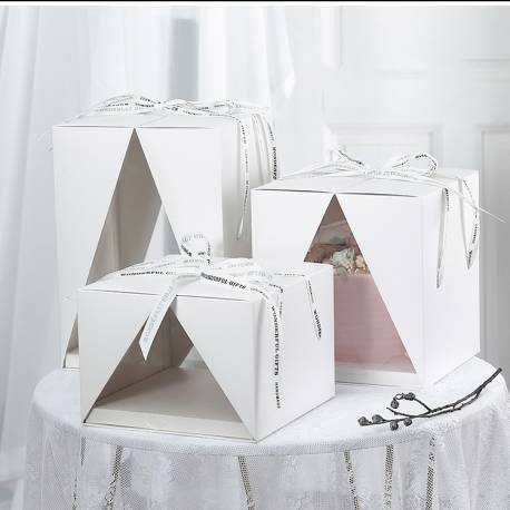 Square cake box with triangle opening