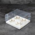 Caja transparente para cupcakes con cinta blanca