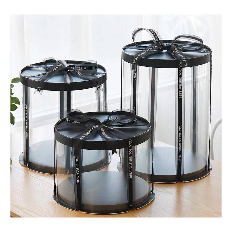 Caja para tartas redonda y transparente de color negro