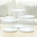 Caja redonda de tarta blanca transparente