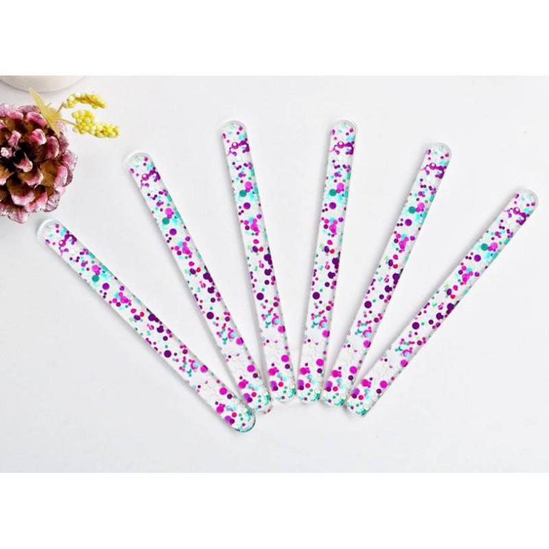 Bâtons de glace ou Popsicle en acrylique confettis multicolore x10
