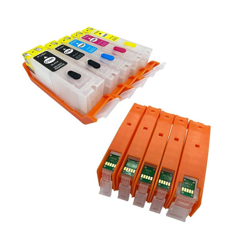 Set de 5 cartouches RECHARGEABLE vide d'encre pour imprimante V4