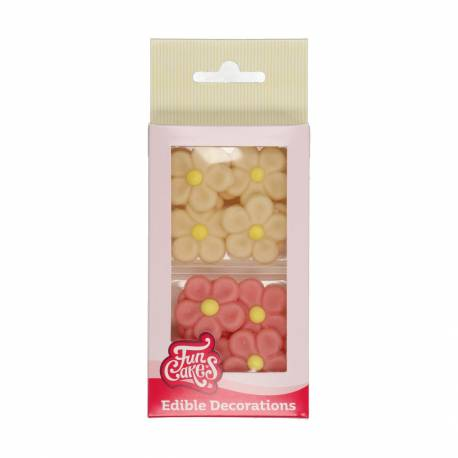 Pink and cream marzipan daisies x12