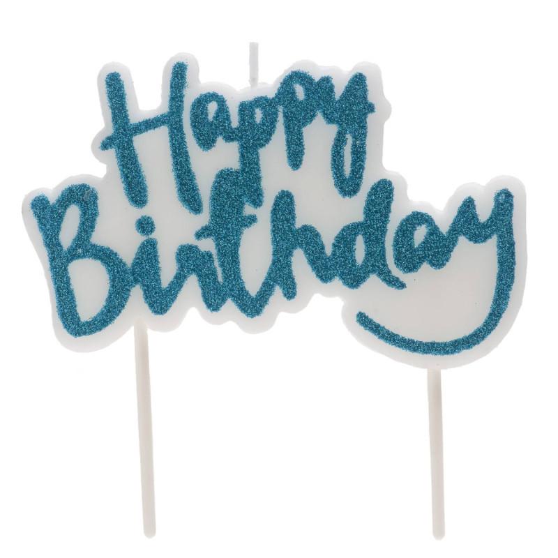 Bougie d'anniversaire Happy Birthday bleu