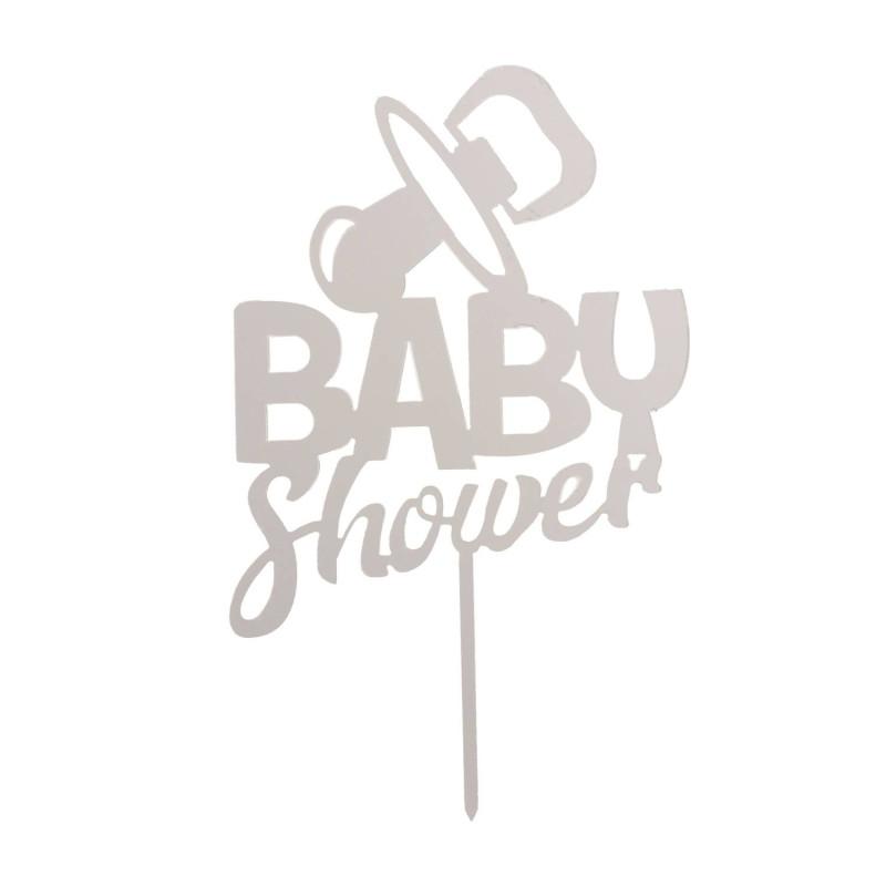 Topper Baby Shower plata 16 x 10 cm