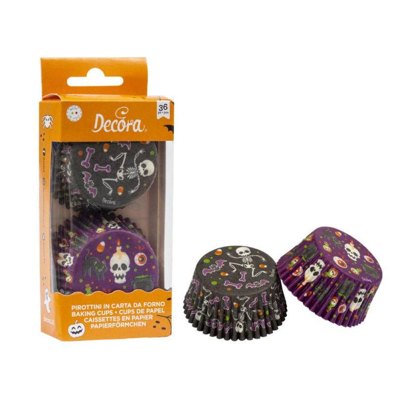 Caissettes Halloween assorties noir et violet -x36