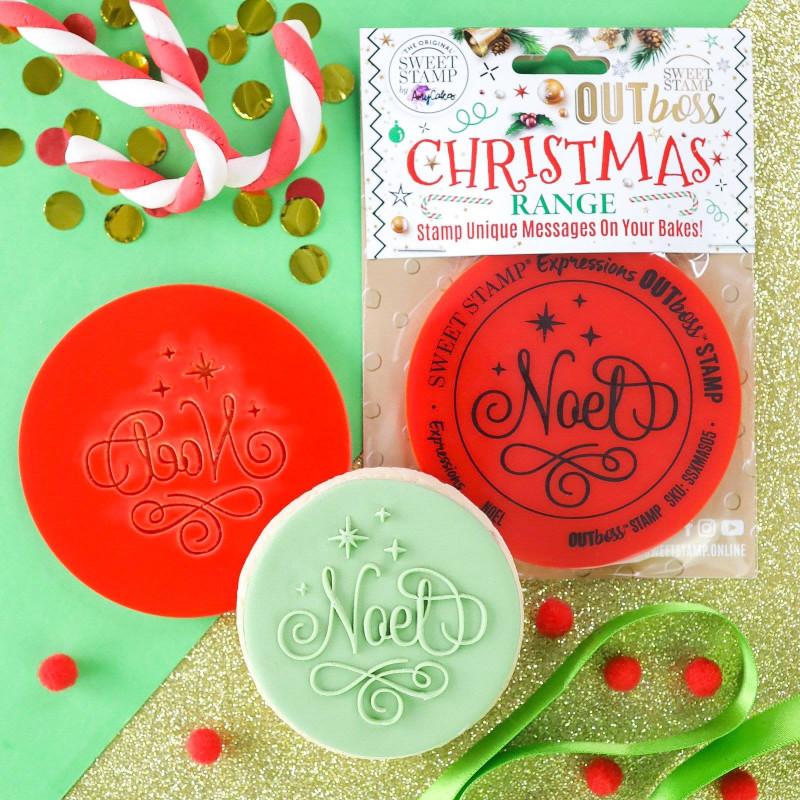 Sello de galleta en relieve Feliz Navidad Dulce