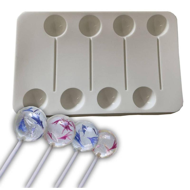 Moule silicone 4 sucettes boules Lollipop