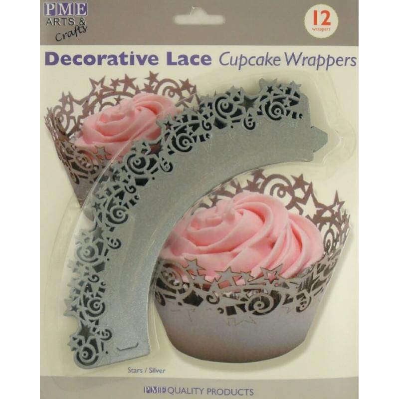 12 WRAP SILVER cupcake tray outline