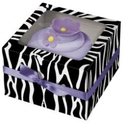 3 boites à cupcake zébrées Wilton