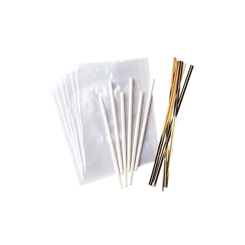 Kit de presentación de 18 chupetes Embalaje + palos