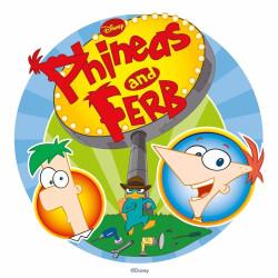 Disque azyme Phineas et Ferb devant leur AFFICHE