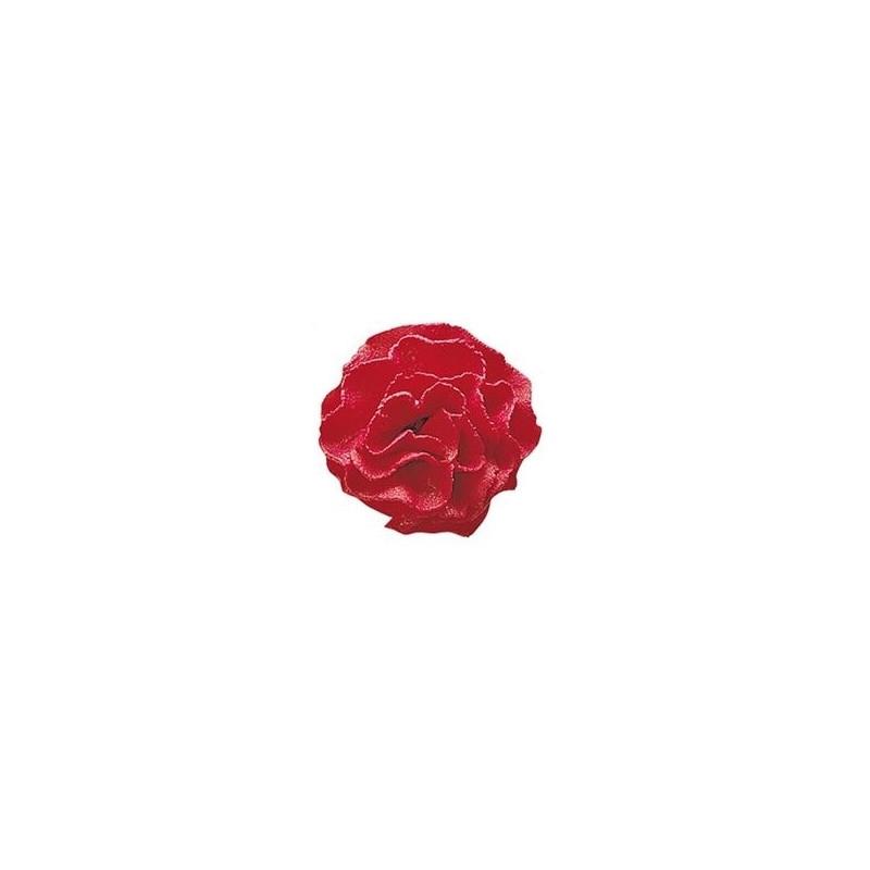 Fleur en sucre OEILLET ROUGE - 3,5cm